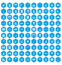 100 amusement icons set blue vector