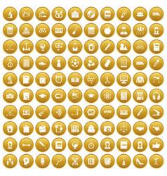 100 hi-school icons set gold vector image