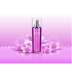 3d deodorant with flowers or realistic spray vector image