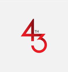 43 th anniversary template design vector