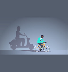African american guy riding bike shadow man on vector