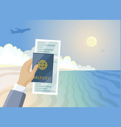 air ticket and passport in hand summer paradise vector image