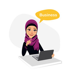 Arab business woman works with laptop on table vector