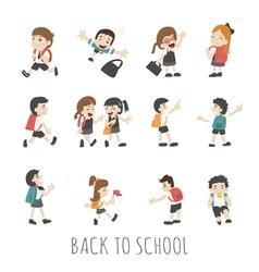 Back to school pupils in school uniform eps10 vector