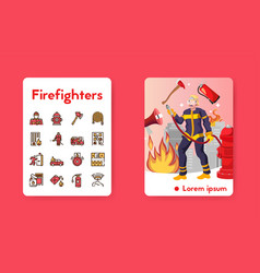 banner firefighter with linear icons set vector image
