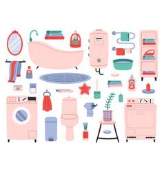Bathroom interior bath tools toilette utensils vector