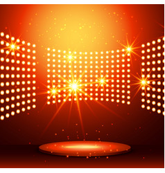 beautiful podium with many lights vector image