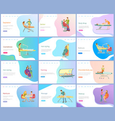 Beauty and skincare procedures online web pages vector