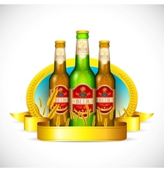 Beer Bottle with Barley vector