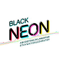 black neon font design alphabet letters and vector image