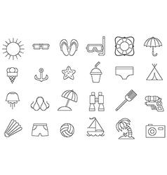 black resort icons set vector image vector image