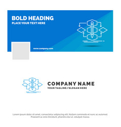 Blue business logo template for algorithm design vector