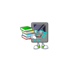 Brainy clever game console studying with some book vector