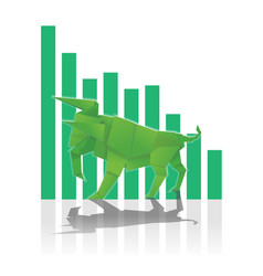 Bull paper art with green bar chart for stock vector