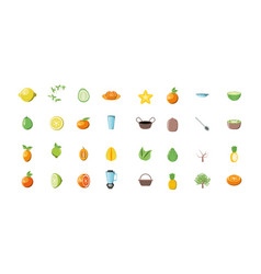 Bundle summer fruits with set icons vector