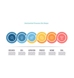 business process timeline infographics with 6 vector image