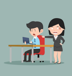 businessman working with angry boss vector image