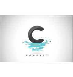 c letter logo design with water splash ripples vector image