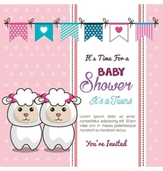 Card baby shower twins sheep design vector