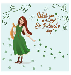 card for st patricks day an irish girl in vector image