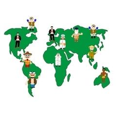 Card of the world and folk vector