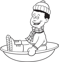 Cartoon boy on a snow sled vector image