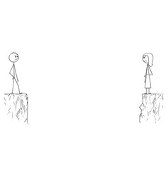 Cartoon of man and woman divided by deep chasm vector