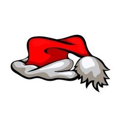 Cartoon Santa hat isolated on white vector image