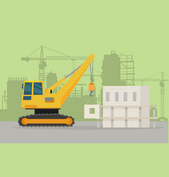 Caterpillar building crane on building area vector