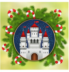 Christmas white castle fireworks and fir-tree vector