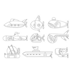 Coloring submarine set undersea cartoon style vector