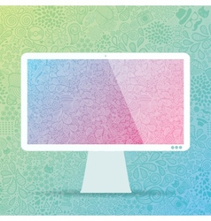 computer display with hipster doodle background vector image