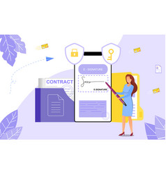 concept e-signatures in business documents vector image