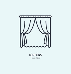 Curtains line icon home textile cleaning logo vector