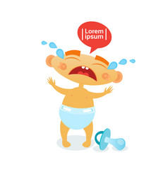 cute baby boy cry toddler cartoon infant in diaper vector image