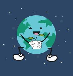 cute cartoon earth holding plant vector image