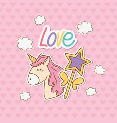 cute unicorn sticker kawaii style vector image