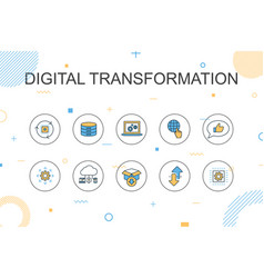 Digital transformation trendy infographic template vector