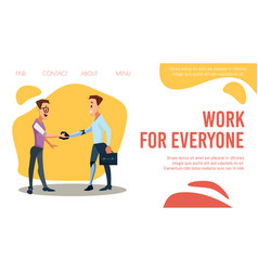 Disabled person employment web banner vector