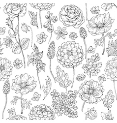 Doodle flowers seamless vector