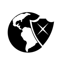 earth and shield icon vector image