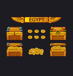 Egypt antique treasure chest and golden coins vector