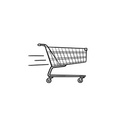 fast delivery shopping cart hand drawn outline vector image