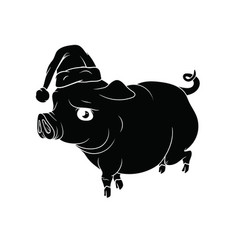 fat pig with santas hat on his head new year 2019 vector image