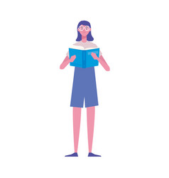Female reader standing reading book character vector