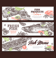fish products hand drawn web banner vector image