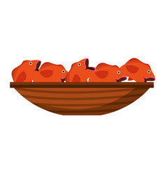 fishing canoe with fish vector image