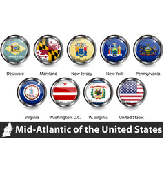 flags mid atlantic region us vector image