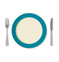 Flat design set with a fork knife and dinner vector image