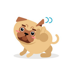 funny pug dog character scratching an itch vector image